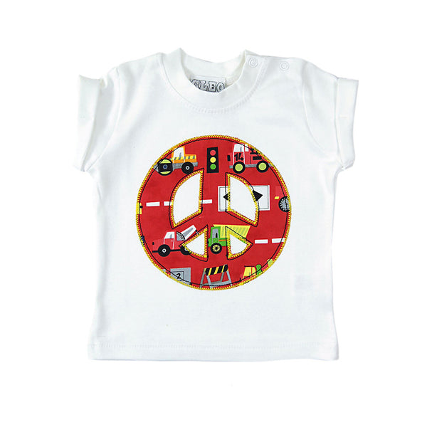 Baby and Toddler Peace Sign Patch T-Shirt 90s Inspired Unisex Design - Red Truck Print