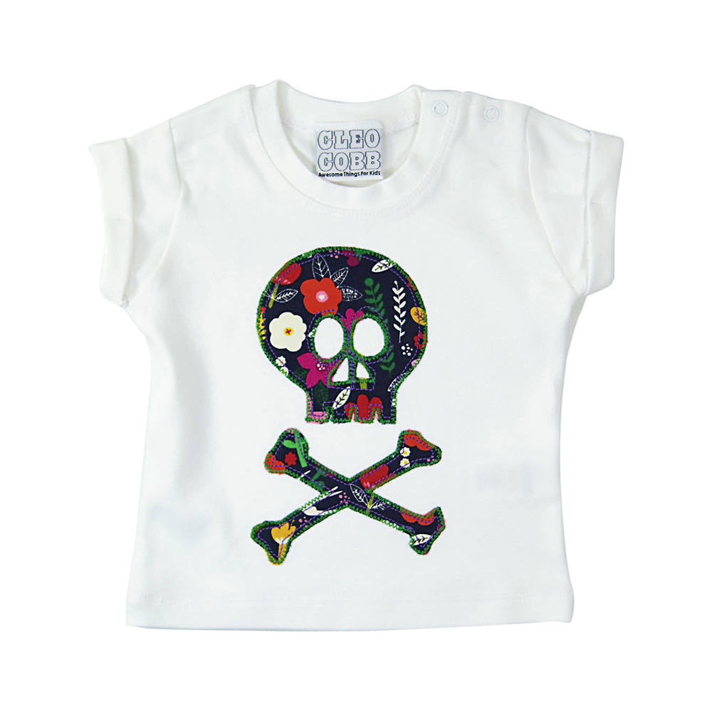 Baby and Toddler Skull and Crossbones Patch T-Shirt Pirate Inspired Unisex Design - Graphic Floral Print