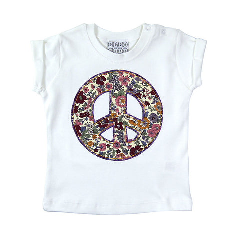 Baby and Toddler Peace Sign Patch T-Shirt 90s Inspired Unisex Design - Purple and Orange Floral Print
