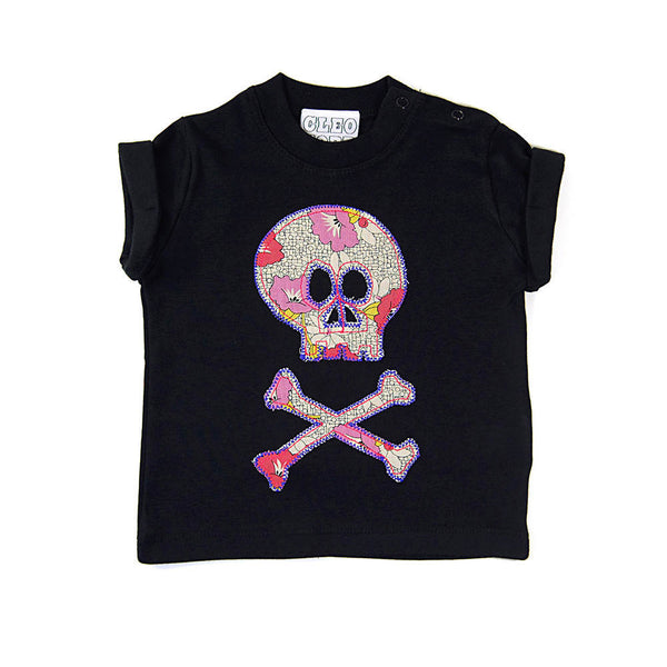 Baby and Toddler Skull and Crossbones Patch T-Shirt Pirate Inspired Unisex Design - Vintage Floral Print