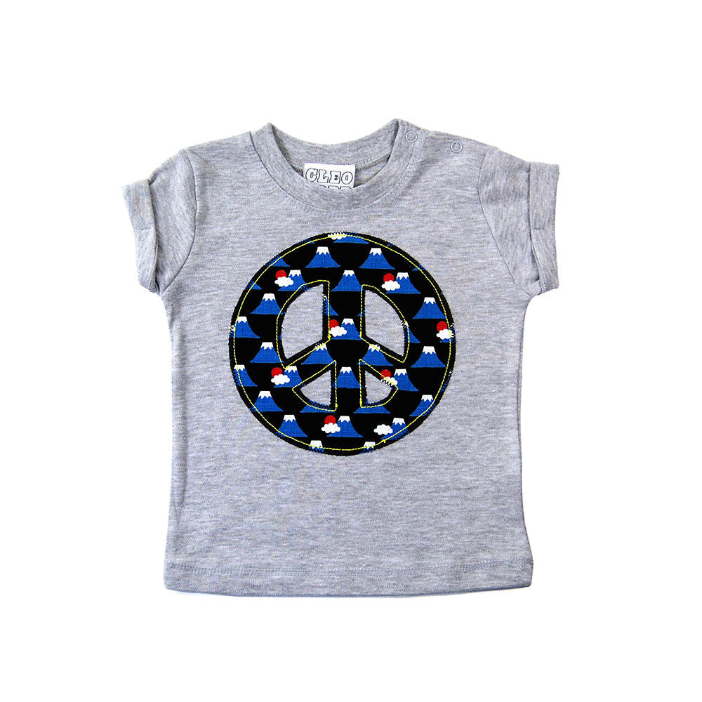Baby and Toddler Peace Sign Patch T-Shirt 90s Inspired Unisex Design - Volcano Print