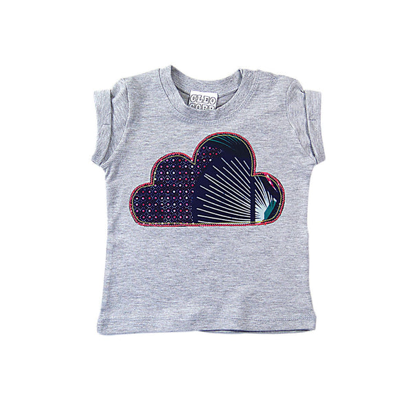 Baby and Toddler Cloud Patch T-Shirt Boho/Folk Inspired Unisex Design - Blue and Pink African Wax Print