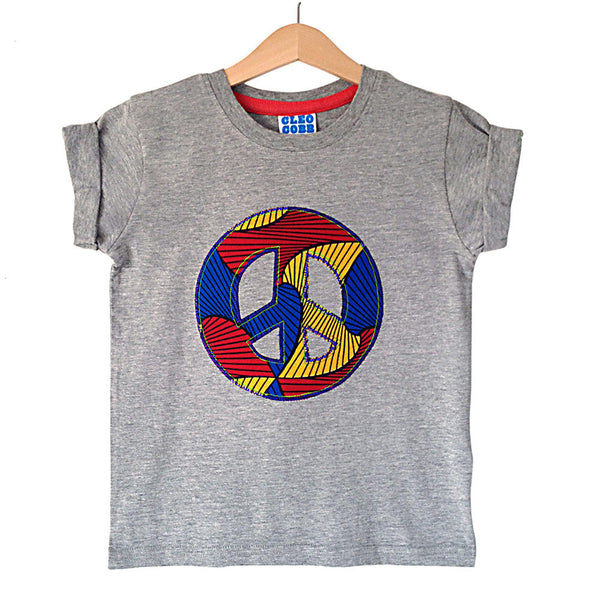 Childrens' Peace Sign Patch T-Shirt 90s Inspired Unisex Design - Red, Yellow and Blue African Wax Print