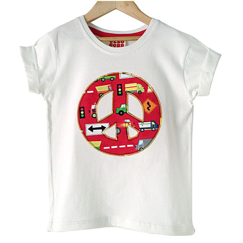 Childrens' Peace Sign Patch T-Shirt 90s Inspired Unisex Design - Red Truck Print