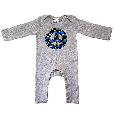 Baby and Toddler Peace Sign Patch Romper 90s Inspired Unisex Design -Volcano Print