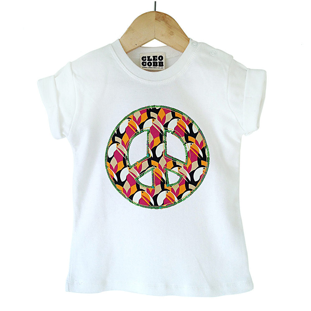 Baby and Toddler Peace Sign Patch T-Shirt 90s Inspired Unisex Design - Toucan Print
