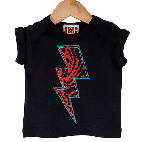 Baby and Toddler Lightening Bolt Patch T-Shirt Superhero Inspired Unisex Design - Red Leopard Animal Print