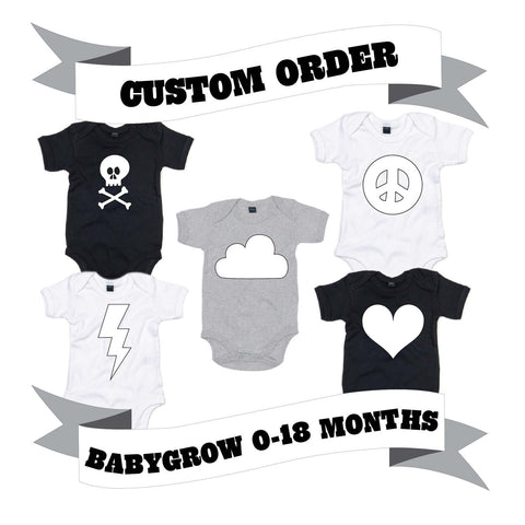 Baby and Toddler Babygrow Number/Letter/Skull/Heart/Peace Sign/Cloud/Lightening Custom Order