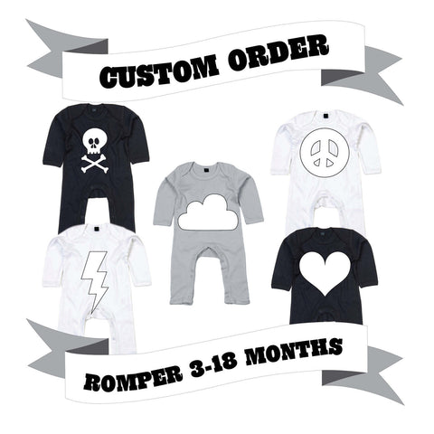 Baby/Toddler Romper Number/Letter/Skull/Heart/Peace Sign/Cloud/Lightening/Moon Custom Order