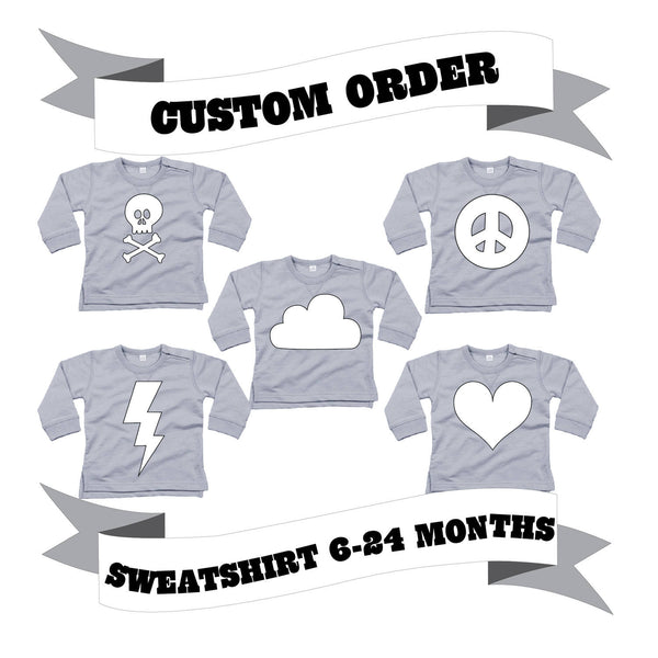 Baby/Toddler Sweatshirt Number/Letter/Skull/Heart/Peace Sign/Cloud/Lightening/Moon Custom Order