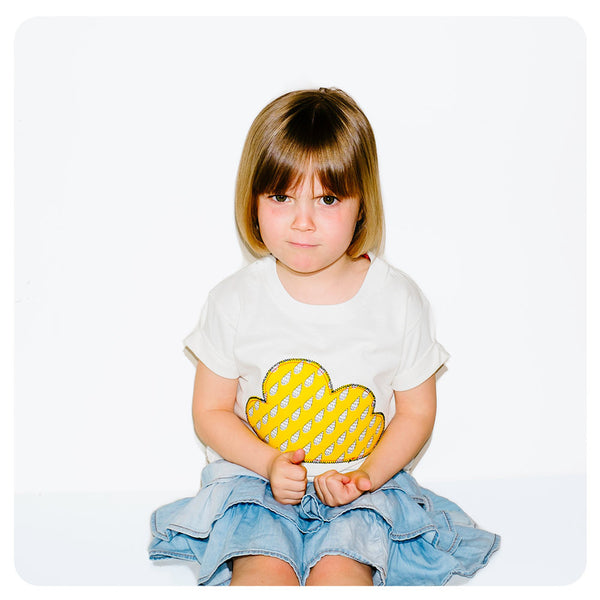 Childrens' Cloud Patch T-Shirt Boho/Folk Inspired Unisex Design - Yellow Raindrop Print