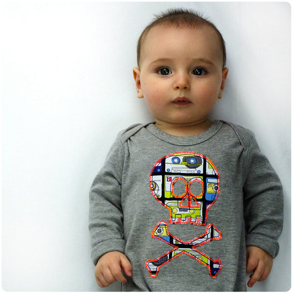 Baby and Toddler Skull and Crossbones Patch Romper Pirate Inspired Unisex Design - Cassette Tape Print