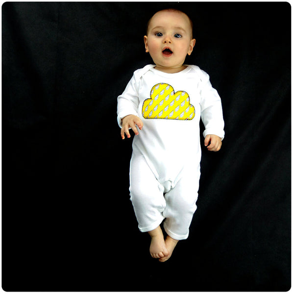 Baby and Toddler Cloud Patch Romper Boho/Folk Inspired Design - Yellow Raindrop Print
