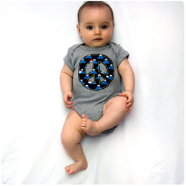 Baby and Toddler Peace Sign Patch Babygrow 90s Inspired Unisex Design - Volcano Print