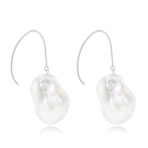 Le Lac Large White Baroque Freshwater Pearl Dangle Earrings ~ Sterling Silver