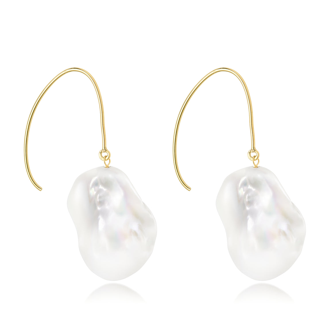 Le Lac Large White Baroque Freshwater Pearl Dangle Earrings ~14K Yellow Gold-Filled