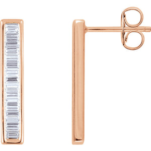 Les Petits Diamants Rose Gold Diamond Linear Bar Earrings