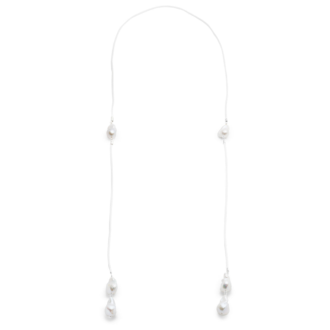 Baroque Freshwater 6 Pearl Double Wrap Necklace - Silver