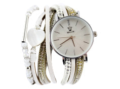 Montre Blanche Double Strap Heart Watch