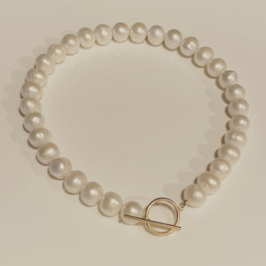 Large Round White Freshwater Pearl Toggle Collar Necklace
