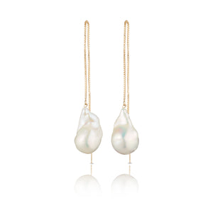 long pearl earrings gold filled baroque freshwater
