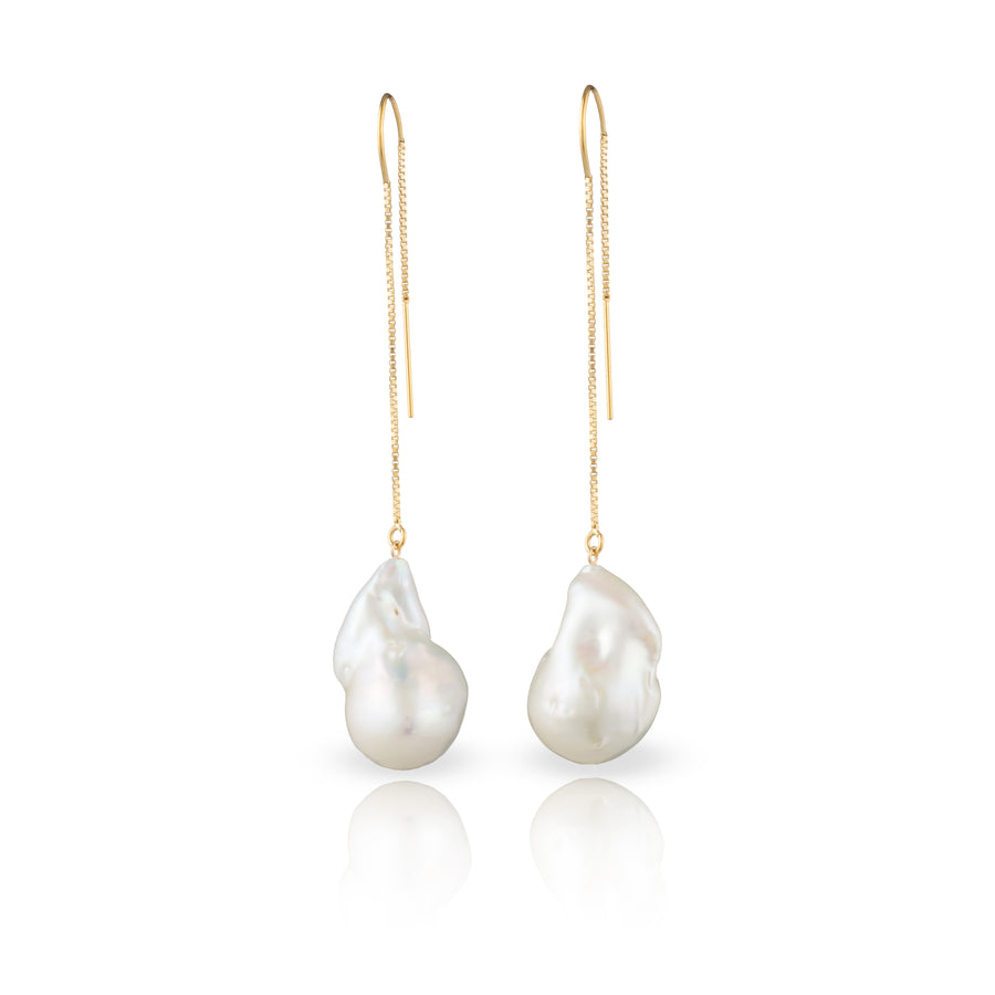 14- Karat Gold Filled Baroque Freshwater Pearl Threader Earrings