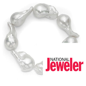 Le Croisette White Freshwater Baroque Pearl Stretch Bracelet