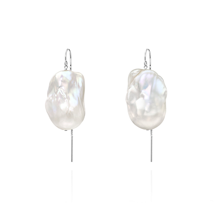 XXL Runway Size Sterling Silver Baroque Freshwater Pearl Drop Threader Earrings
