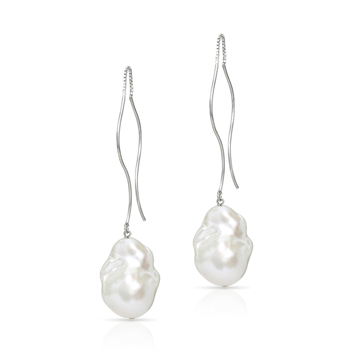 """ Waves ""  Sterling Silver Baroque Freshwater Pearl Threader Earrings"