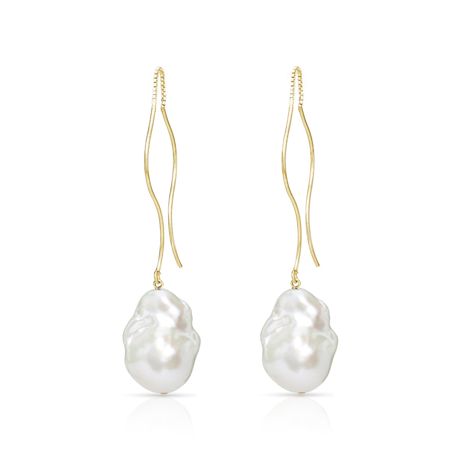 """ Waves ""  Gold Vermeil Baroque Freshwater Pearl Threader Earrings"