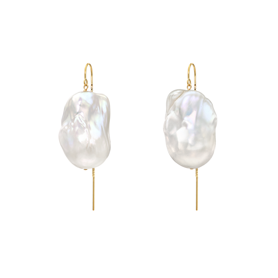 XXL Runway Size 14K Gold Filled Baroque Freshwater Pearl Drop Threader Earrings