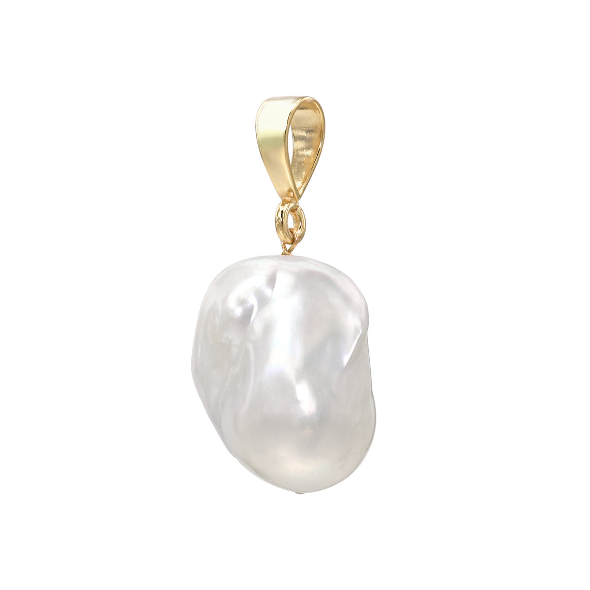 Large White Baroque Freshwater Pearl Gold Vermeil Slip On Pendant