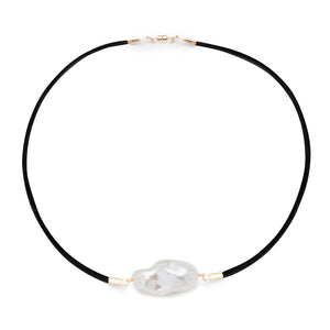 Baroque Freshwater Pearl & Satin Choker Necklace - Gold