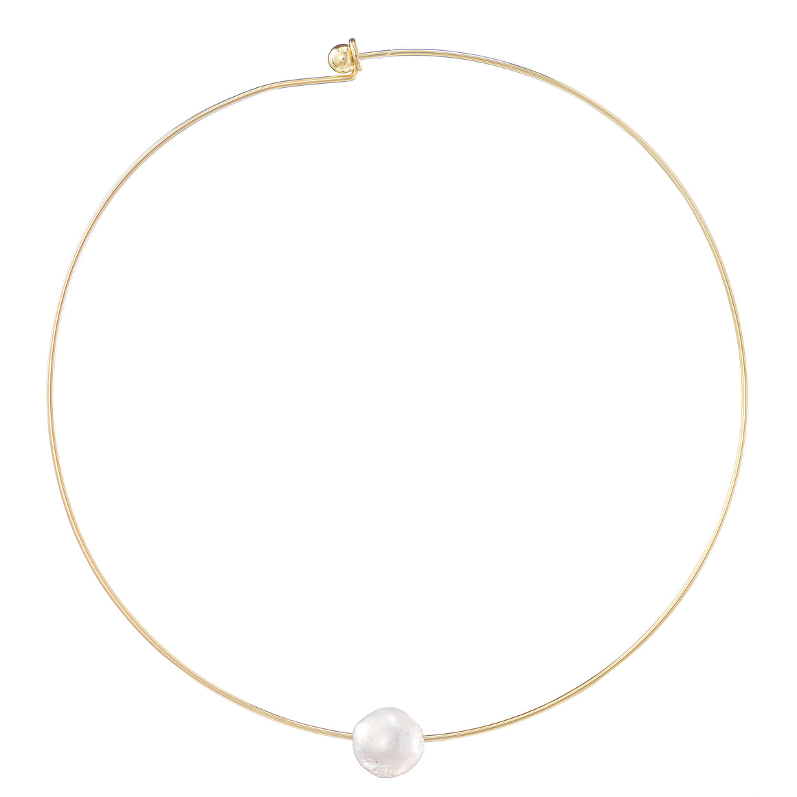 Cultured Baroque Freshwater Floating Pearl Gold Plated Neck Collar