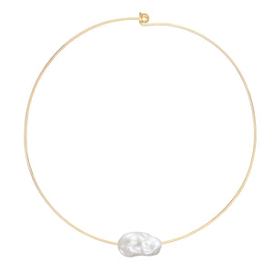 Large  Baroque Freshwater Fireball Floating Pearl Gold Plated Neck Collar