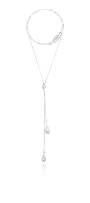Baroque Freshwater Pearl & Satin Wrap Necklace - Silver