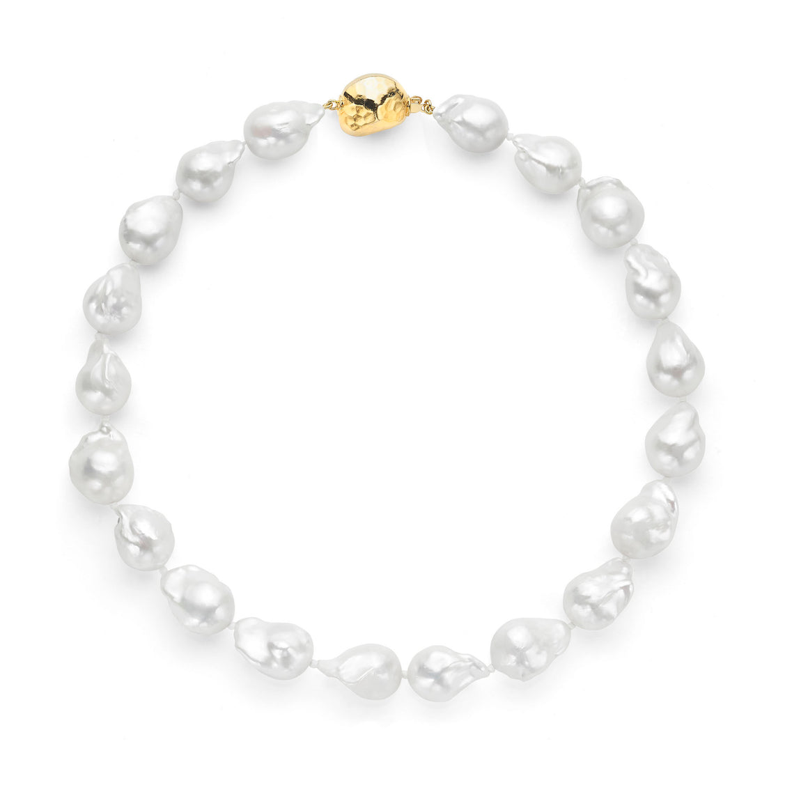 Les Trois Corniches Large White Baroque Freshwater Pearl Necklace