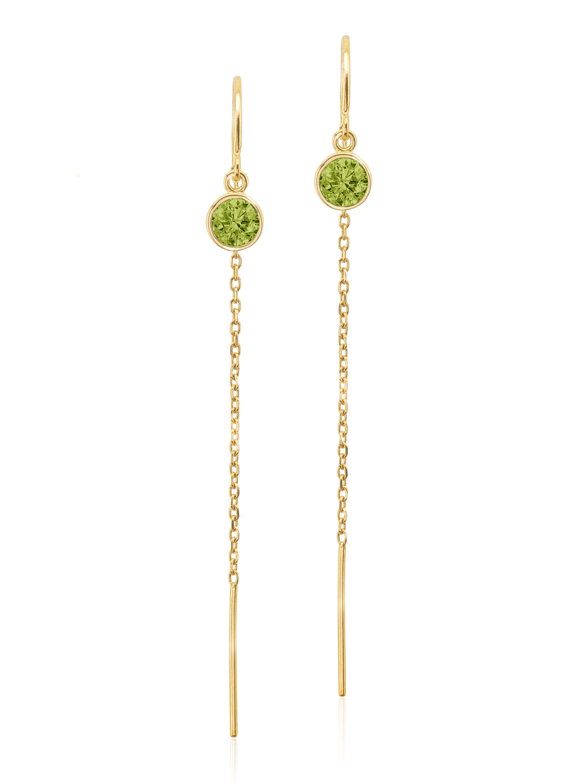 14K Yellow Gold Floating Peridot Cable Chain Threader Earrings