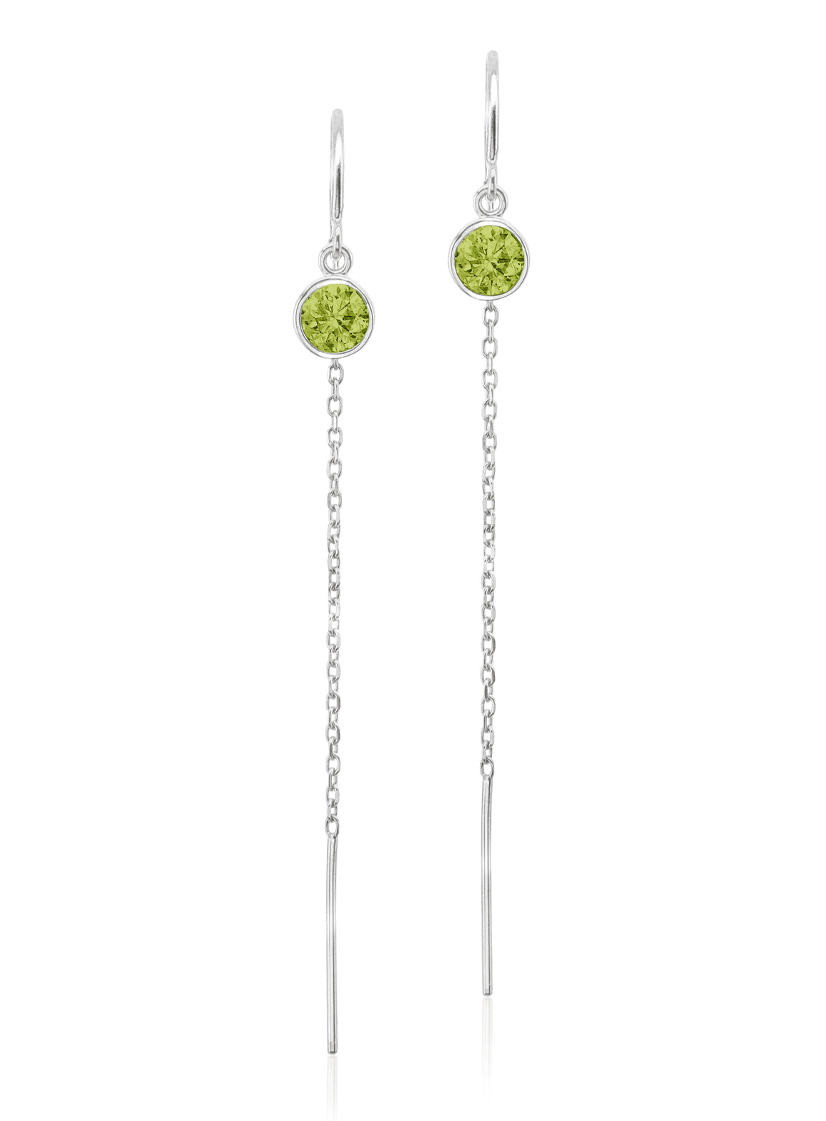 Sterling Silver Floating Peridot Cable Chain Threader Earrings