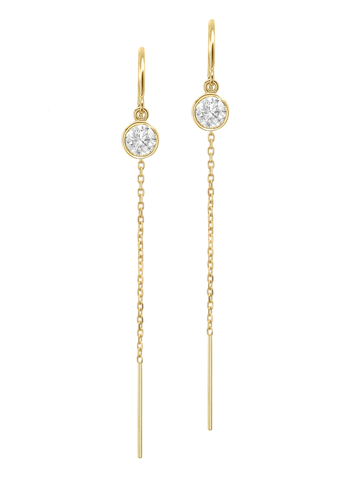 14K Yellow Gold Diamond Bezel Cable Chain Threader Drop Earrings