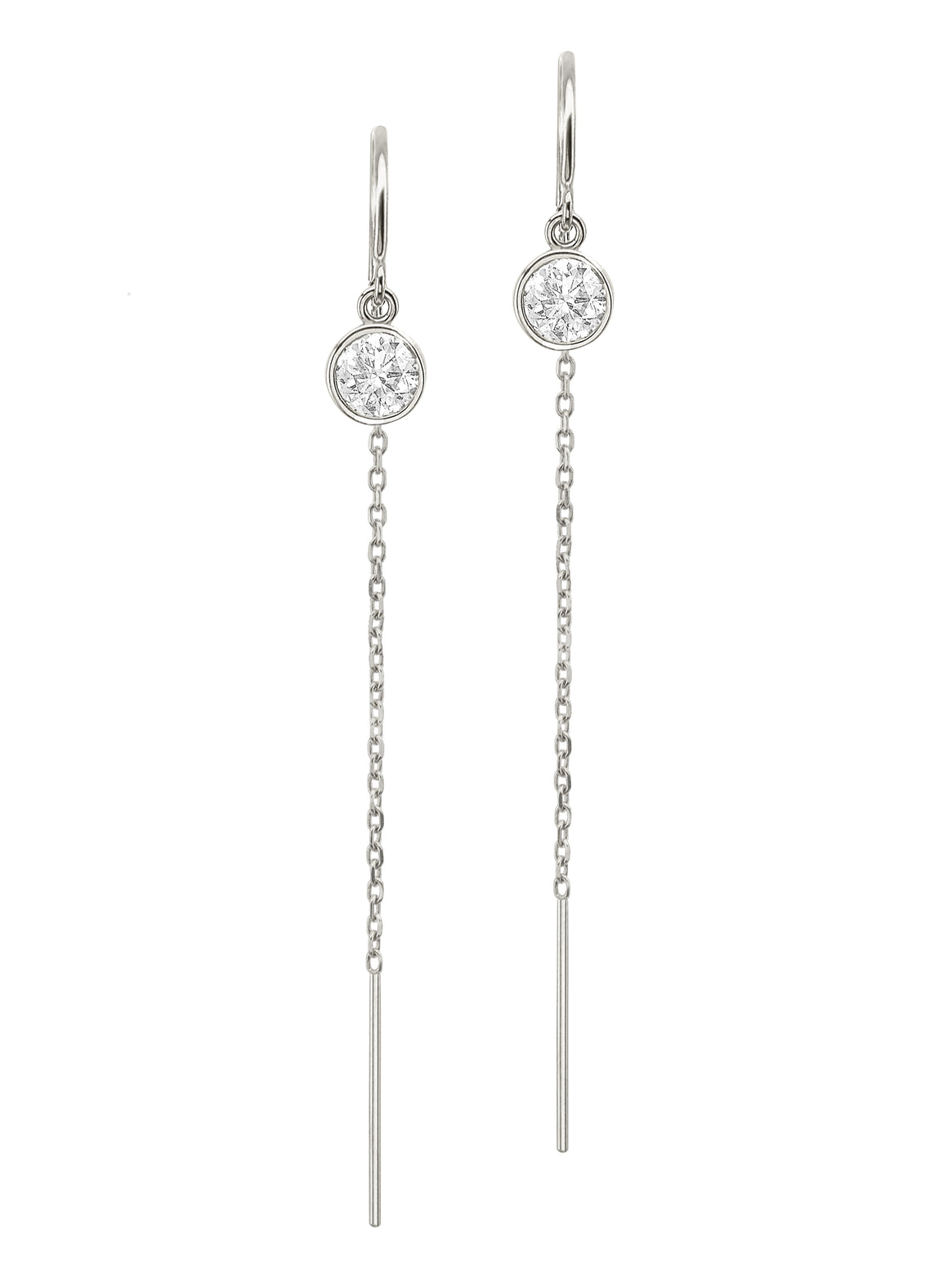 Sterling Silver Diamond Bezel Cable Chain Threader Drop Earrings