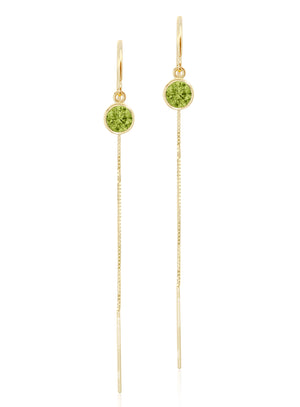 14K Yellow Gold Peridot Box Chain Threader Earrings