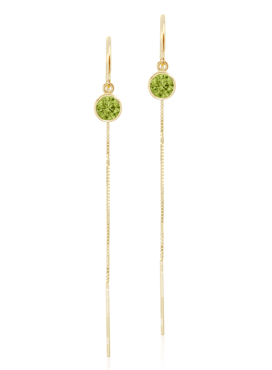 14K White Gold Peridot Box Chain Threader Earrings