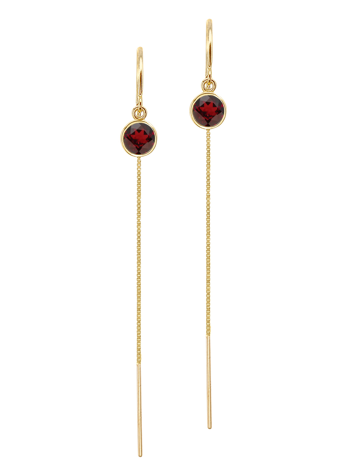 14K Yellow Gold Floating Dark Red Garnet Box Chain Threader Earrings