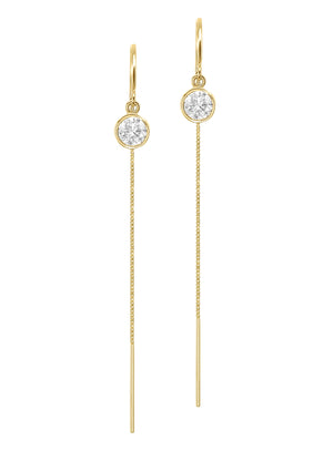 14K Yellow Gold Diamond Bezel Box Chain Threader Drop Earrings