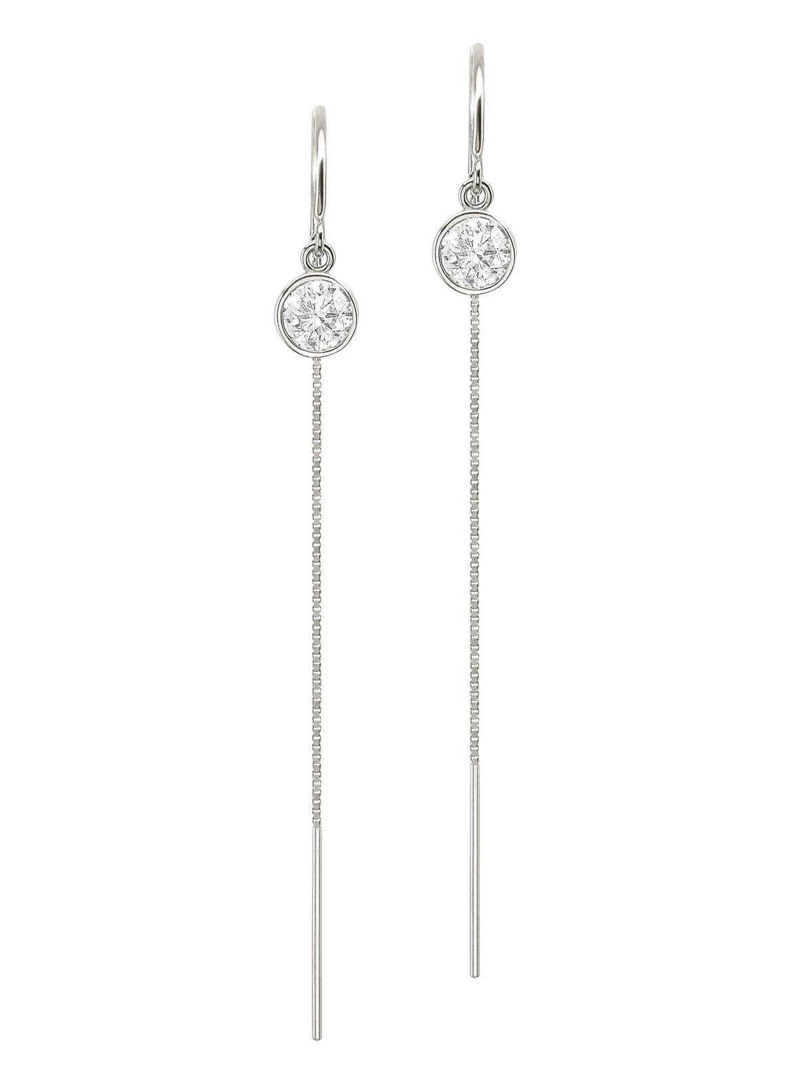 14K White Gold Diamond Bezel Box Chain Threader Drop Earrings