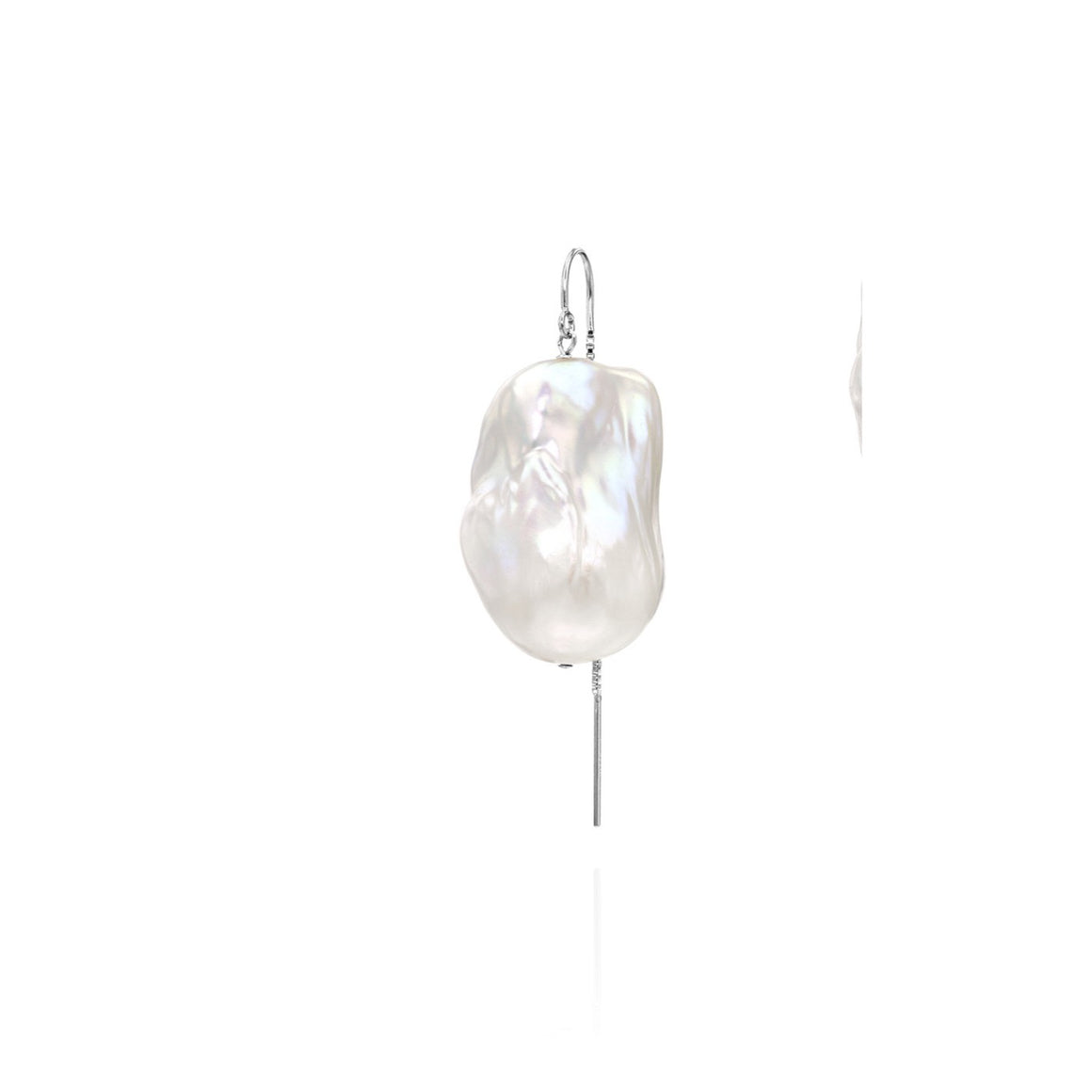 XXL Runway Size Sterling Silver Baroque Freshwater Pearl Drop Threader Single Earring