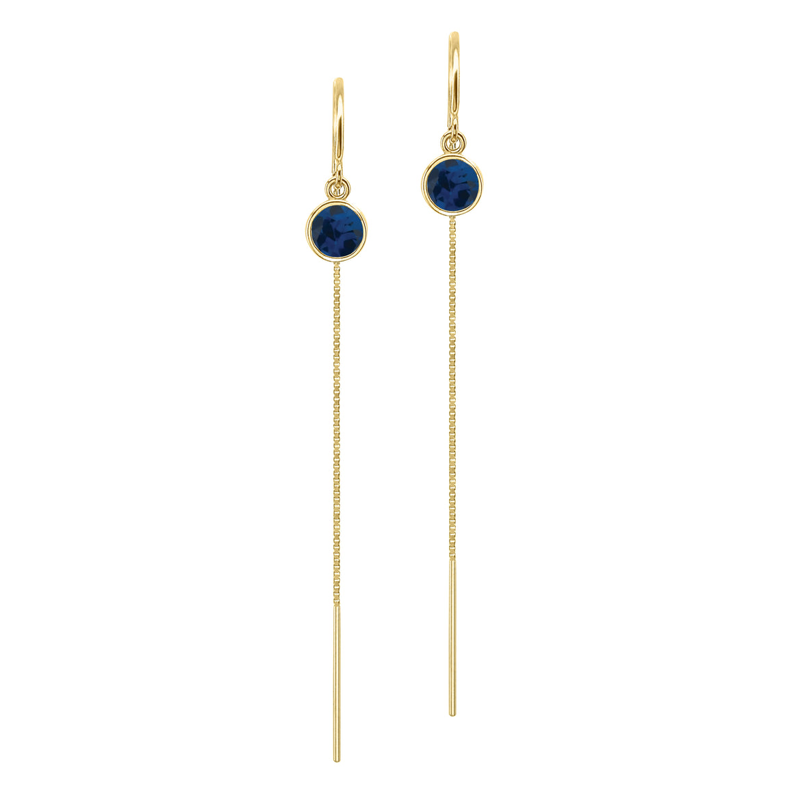 14K Yellow Gold Floating Blue Sapphire Box Chain Threader Earrings