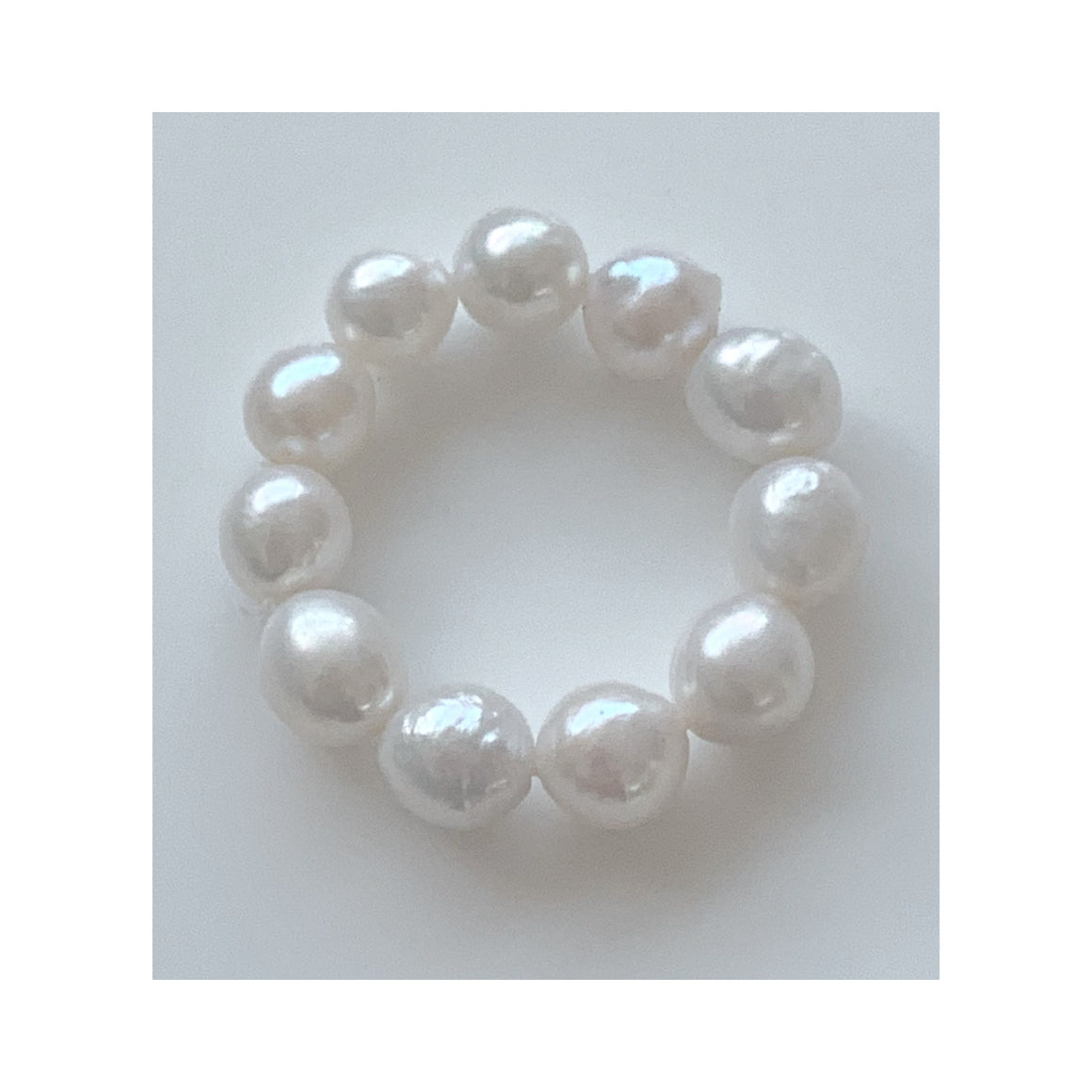 Antibes White Baroque Freshwater Pearl Stretch Ring Set