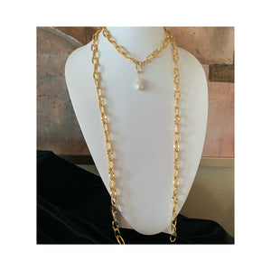 L'Heure D'or 60 Inch Gold Chain White Baroque Freshwater Pearl Lariat Necklace